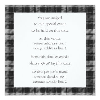 Grey Watch Tartan Party Invite with Scottie Dogs