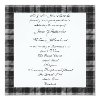 Grey Watch Tartan Wedding with Scottie Dogs Card