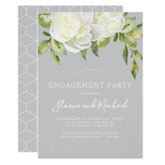 Grey Watercolor Floral Peony Engagement Party Card