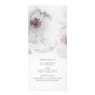 Grey Watercolor Flowers Boho Wedding Programs