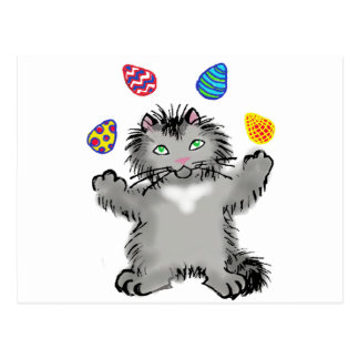 Grey Watercolor Kitty Juggles Easter Eggs Postcard