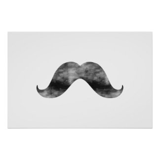 Grey Watercolor Mustache Black and White Handlebar Poster