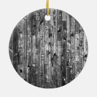 Grey Weathered Wood Wall Texture Ceramic Ornament