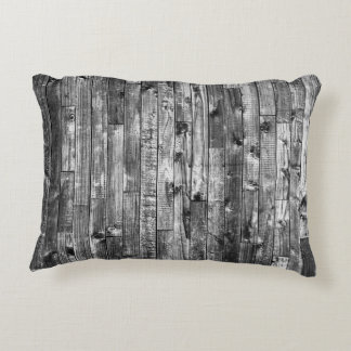 Grey Weathered Wood Wall Texture Decorative Pillow