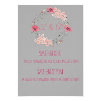 Grey wedding information card