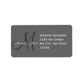 Grey Wedding Reply Card Address Label Monogram