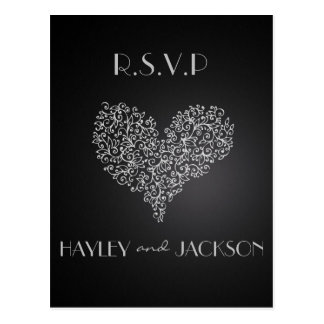 "grey wedding rsvp postcards ""with love"""
