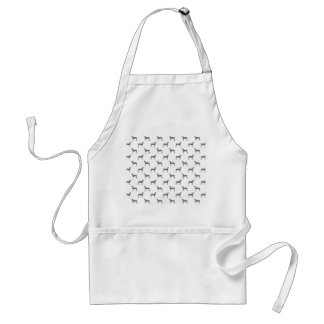 Grey Weimaraner Silhouettes on White Background Adult Apron
