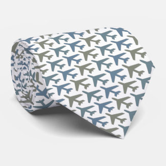 Grey White Airplane Tie Printed on Front Side Only