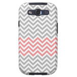 Grey, White and Coral Chevron Samsung Galaxy SIII Cases