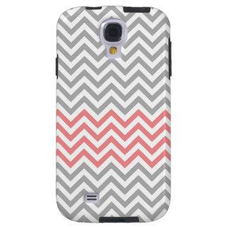 Grey White and Coral Chevron Galaxy S4 Case