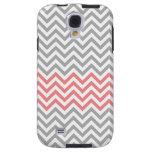 Grey, White and Coral Chevron Galaxy S4 Case