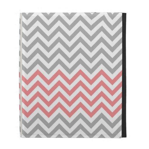 Grey, White and Coral Chevron iPad Cases