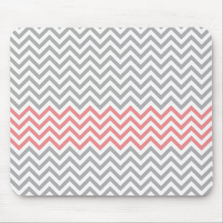 Grey White and Coral Chevron Mouse Pad