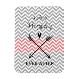 Grey, White and Coral Chevron Magnets