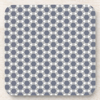 Grey, White and Muted Blue Tessellation Pattern Beverage Coaster