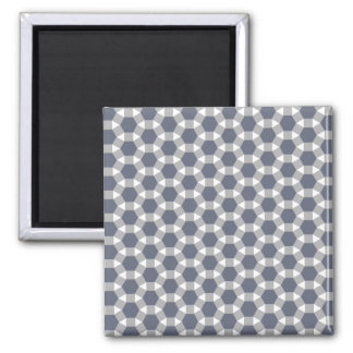 Grey, White and Muted Blue Tessellation Pattern Magnet