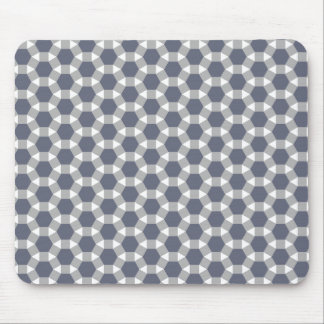 Grey, White and Muted Blue Tessellation Pattern Mouse Pad