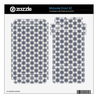Grey, White and Muted Blue Tessellation Pattern Motorola Droid X2 Decals