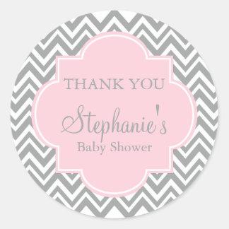 Grey, White and Pastel Pink Chevron Baby Shower Classic Round Sticker