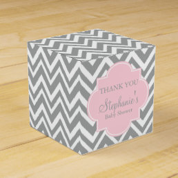 Grey, White and Pastel Pink Chevron Baby Shower Favor Box