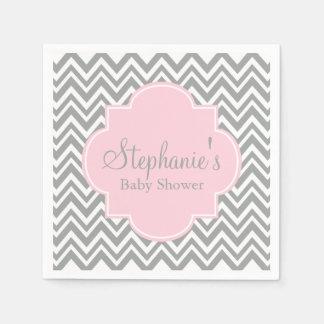 Grey, White and Pastel Pink Chevron Baby Shower Napkin