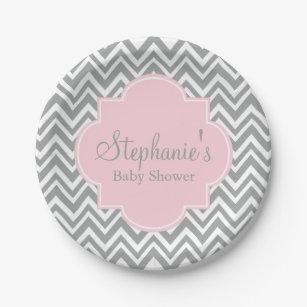 Grey White and Pastel Pink Chevron Baby Shower Paper Plate  sc 1 st  Zazzle & Pink Grey Chevron Plates | Zazzle