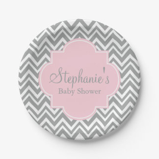 Grey, White and Pastel Pink Chevron Baby Shower Paper Plate