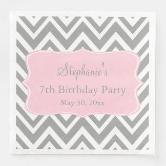 Grey, White and Pastel Pink Chevron Birthday Paper Dinner Napkin