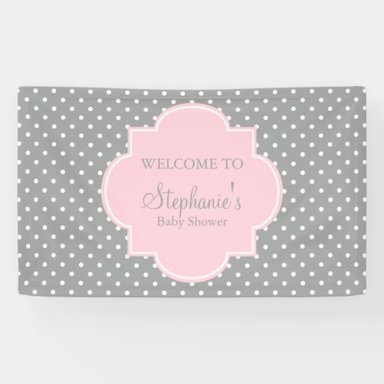 Grey White And Pastel Pink Polka Dot Baby Shower Banner Zazzle