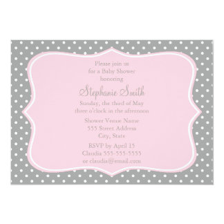 Grey, White and Pastel Pink Polka Dot Baby Shower Card