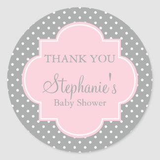 Grey, White and Pastel Pink Polka Dot Baby Shower Classic Round Sticker