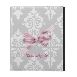 Grey, White and Pink Damask iPad Case