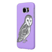 Grey White Barn Owl Purple Samsung Galaxy S6 Case