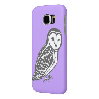 Grey White Barn Owl Purple Samsung Galaxy S6 Case Samsung Galaxy S6 Cases