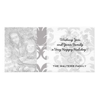 grey white baroque damask card