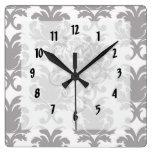 grey white baroque damask clocks
