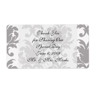 grey white baroque damask personalized shipping label
