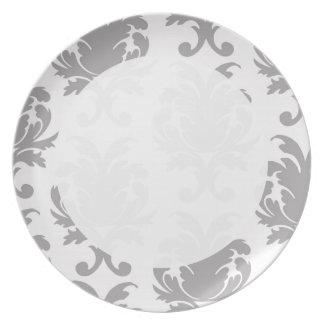 grey white baroque damask melamine plate