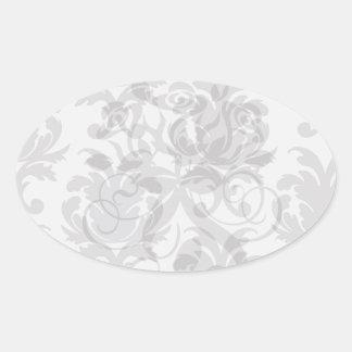 grey white baroque damask oval sticker