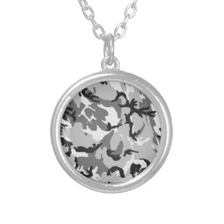 Grey White Black Camouflage Silver Plated Necklace