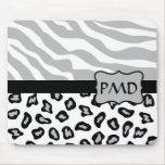 Grey, White & Black Zebra & Cheetah Skin Custom Mouse Pad
