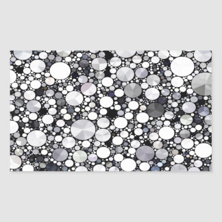 Grey White Bling Pattern Rectangle Stickers