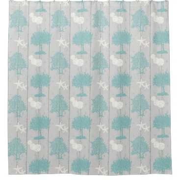 Beach Themed Grey White Blue Beach Cottage Coral Shell Starfish Shower Curtain