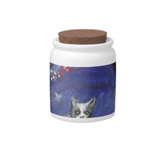 Grey & white cat butterfly ocean beach tree candy jar