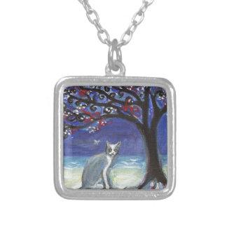Grey & white cat butterfly ocean beach tree custom jewelry