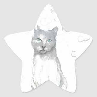 Grey White Cat Dreams Cat Lovers Gifts Star Sticker