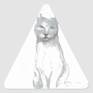 Grey White Cat Dreams Cat Lovers Gifts Triangle Sticker