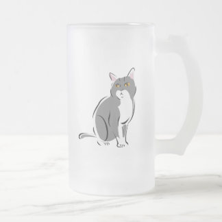 Grey & White Cat with Amber Eyes Frosted Beer Mug
