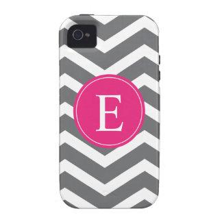 Grey White Chevron Bright Pink Monogram Case-Mate iPhone 4 Cover